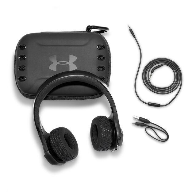 UA Sport Wireless Train – Engineered by JBL - Black / Red - Wireless on-ear headphone built for the gym - Detailshot 5