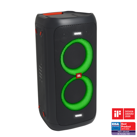 JBL PartyBox 100 - Black - Powerful portable Bluetooth party speaker with dynamic light show - Hero